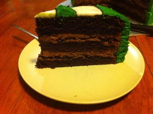 Inside of husband's green lantern cake, chocolate with ganache layers